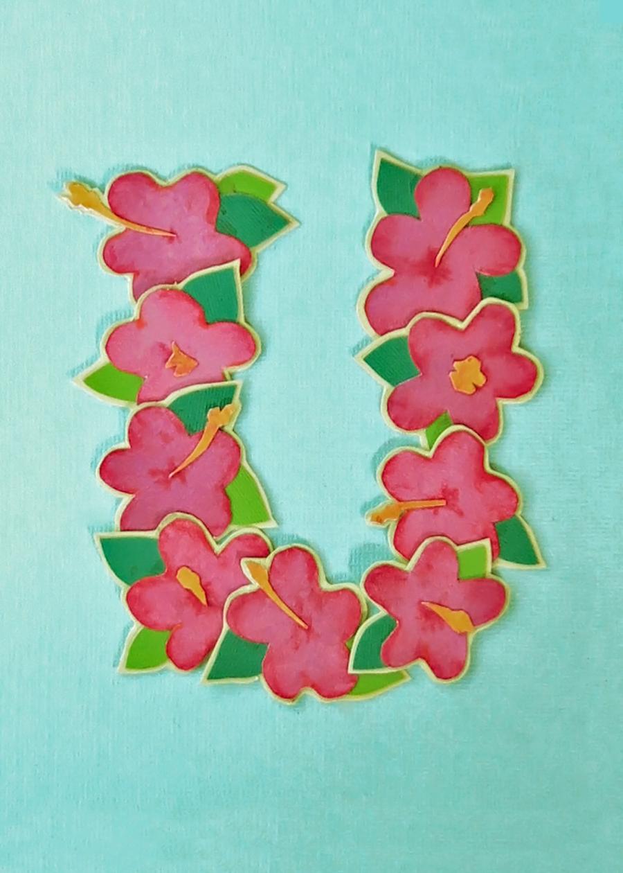 Letter U Hibiscus