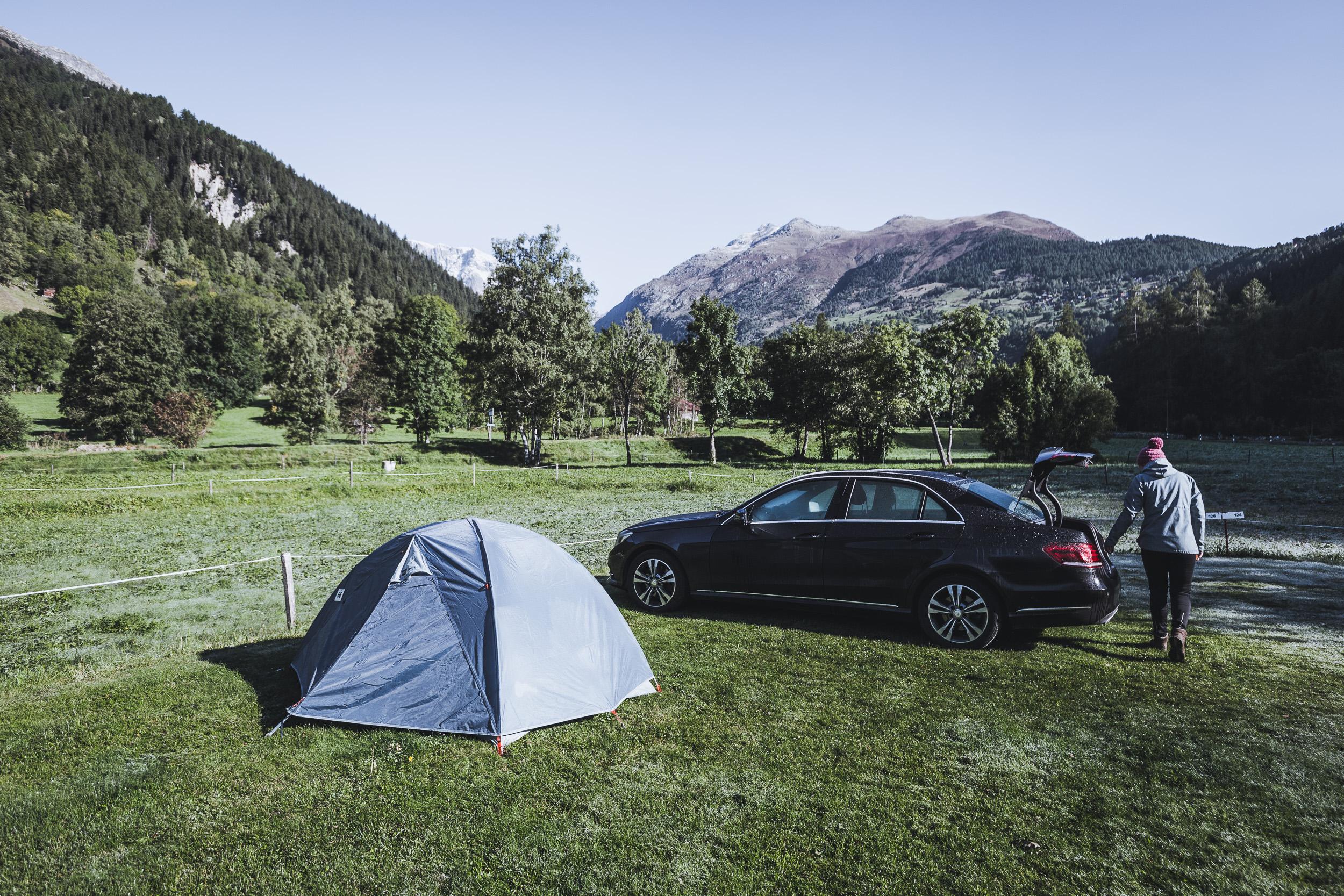Campen mit Morgenfrost