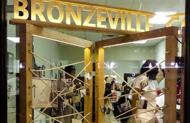 Recent pop-up event in Bronzeville featuring store fixtures designed and built by Illinois Tech IPRO and Architecture students.