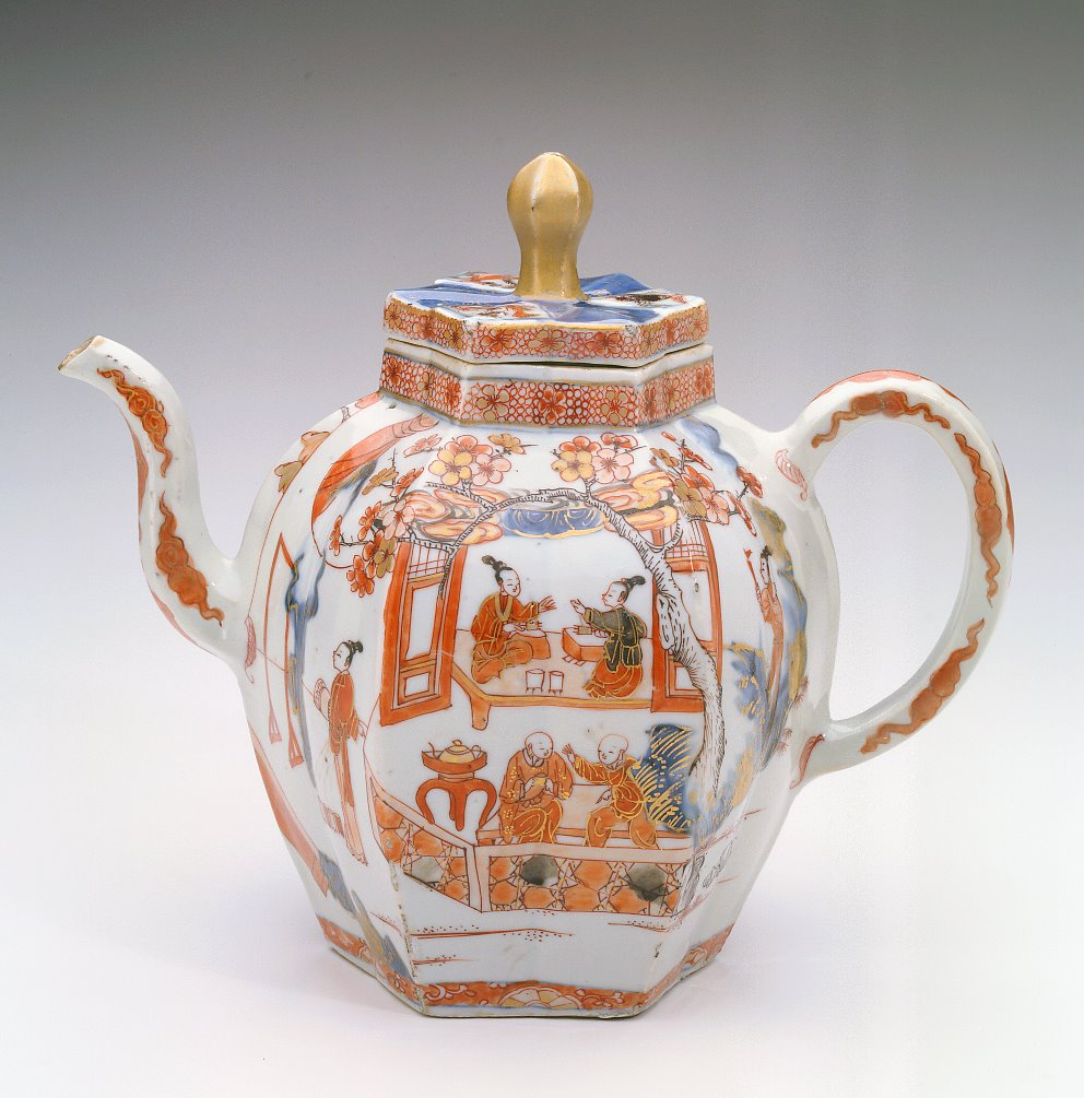 Chinese Imari teapot showing silk production, 1700   Private collection Shirley M. Mueller