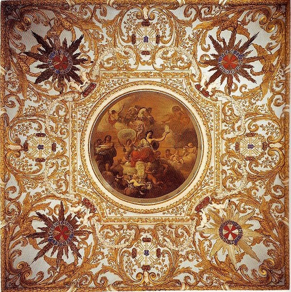 The Ceiling of the Oranienburg Palace outside Berlin painted in 1697 by August Terwesten. The underside of the large plate, center left, is like the dish I purchased and then returned. Photo from Wikipedia.