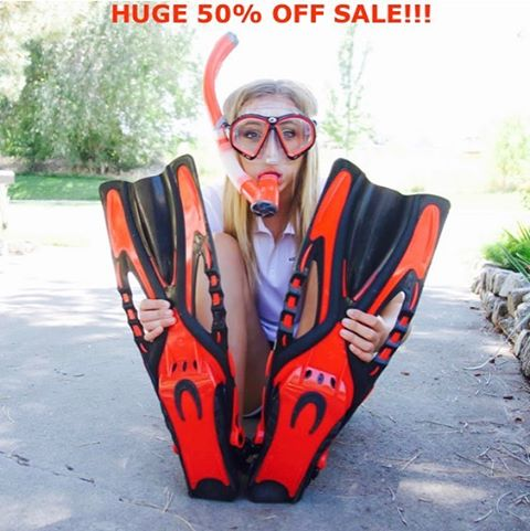 "50% off all red snorkel/mask/fins sets! Limited time offer!! Use PROMO CODE: ""RED"" to receive discount. Visit www.kapitolreef.com/shop-now  #snorkeling #beach #palmtrees #ocean #adventure #tropical #freediving"