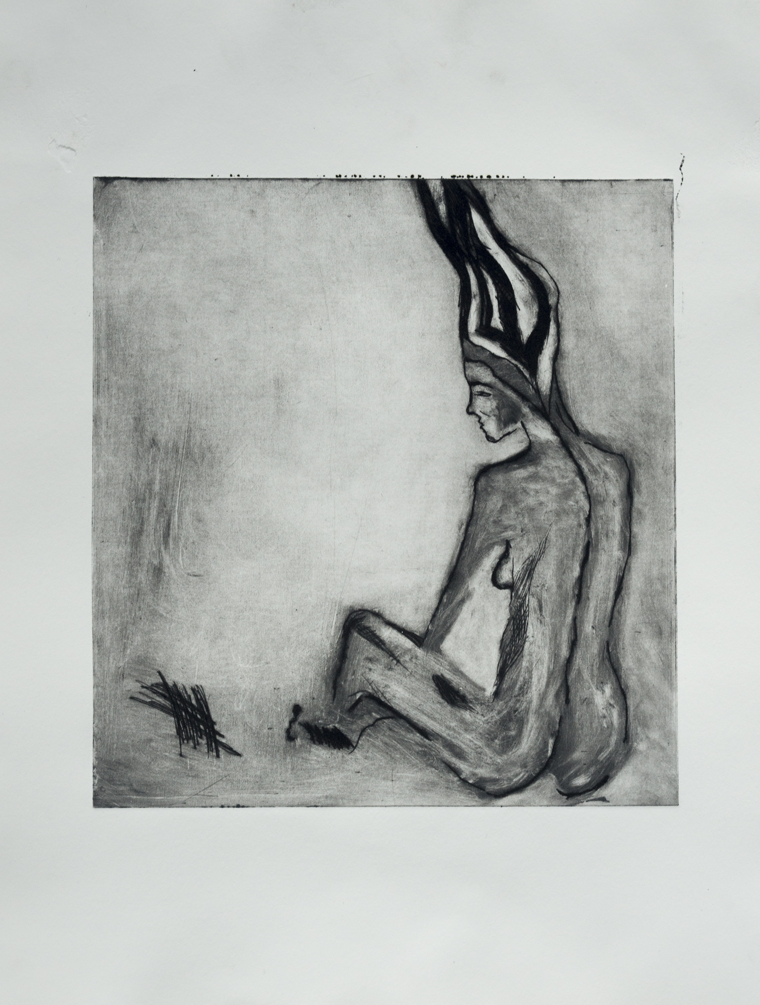 """Drypoint Drawing, 9""""x9"""""""