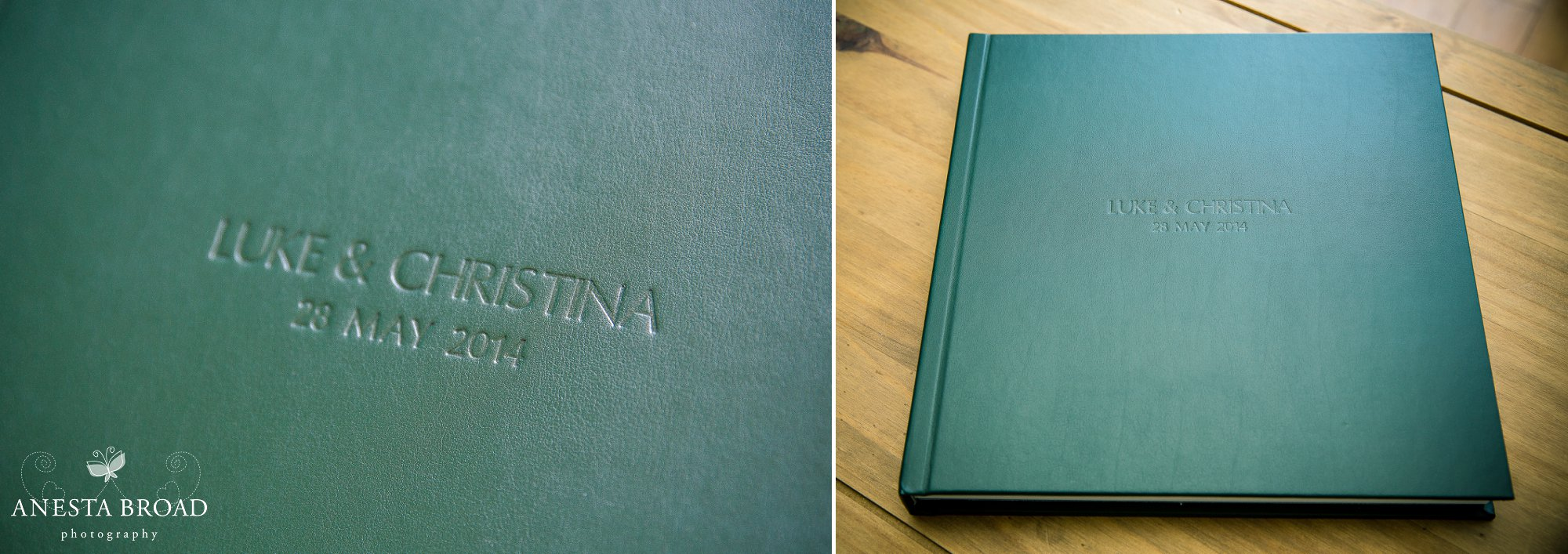 12x12 Green leather cover with names and date debossed