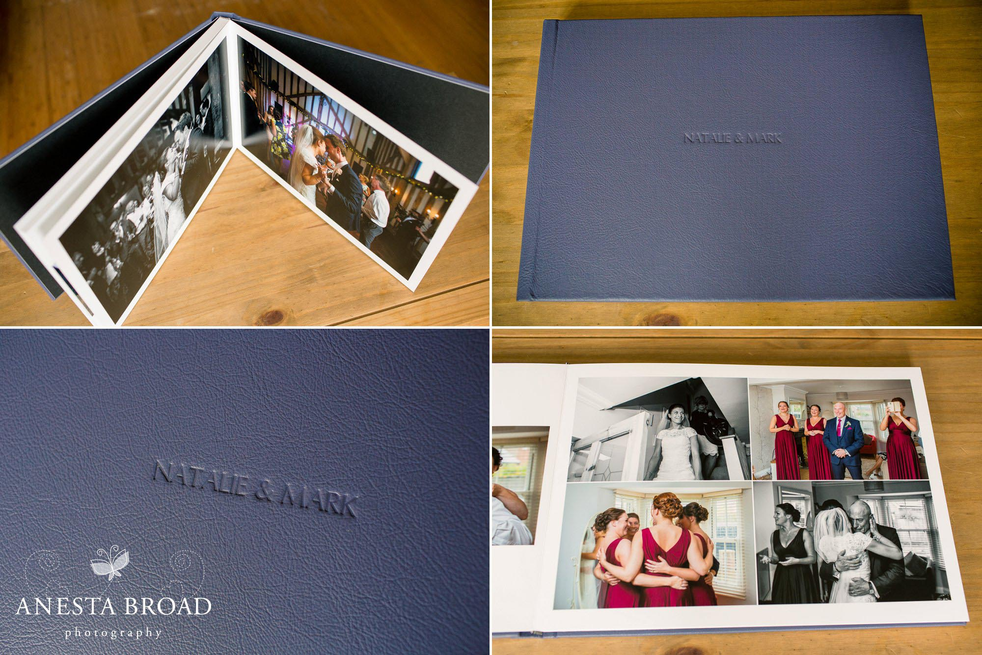 10x14 Navy Leather album with names debossed on the cover