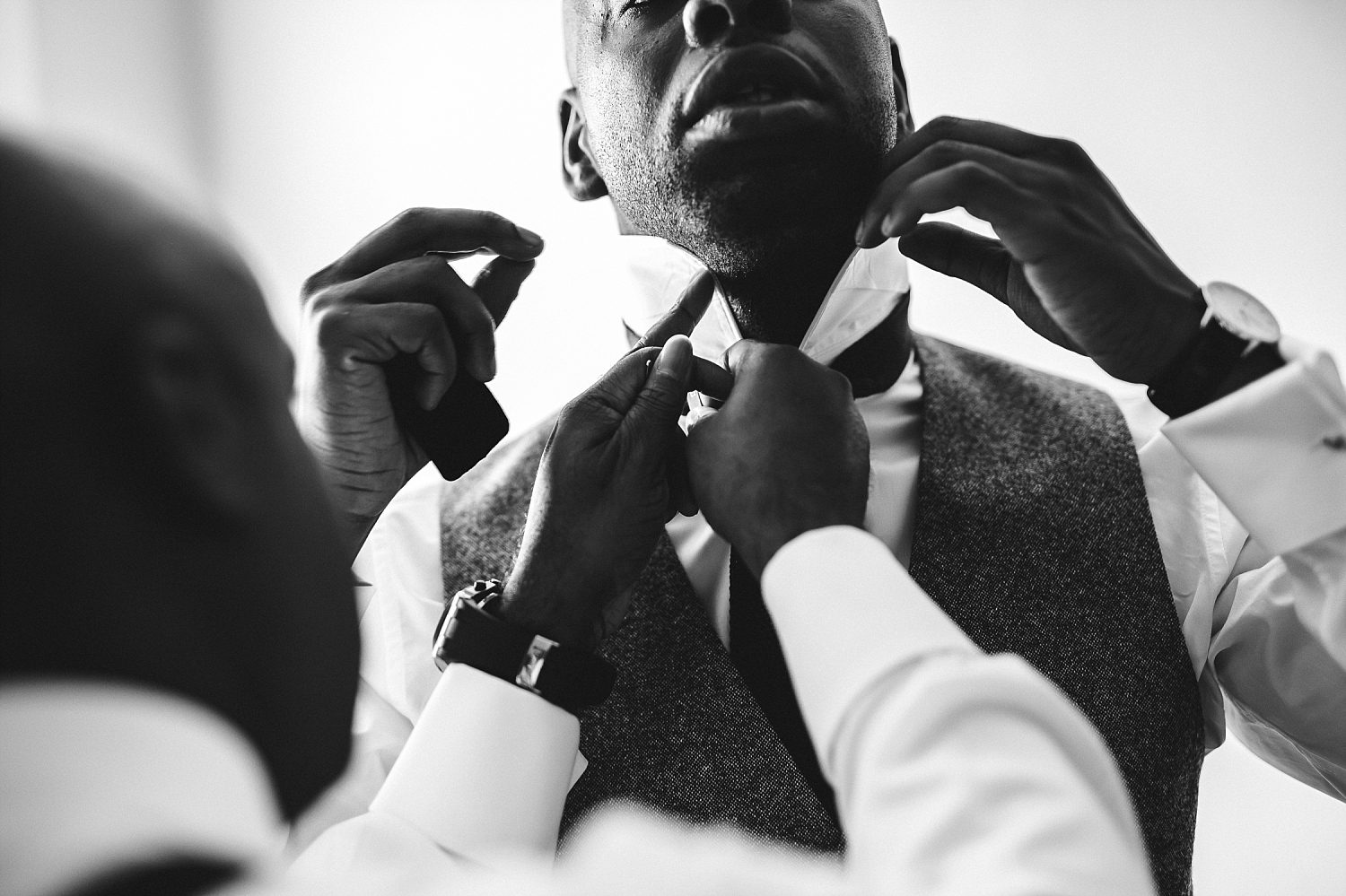 Gaynes Park Wedding Photographer Groom Prep