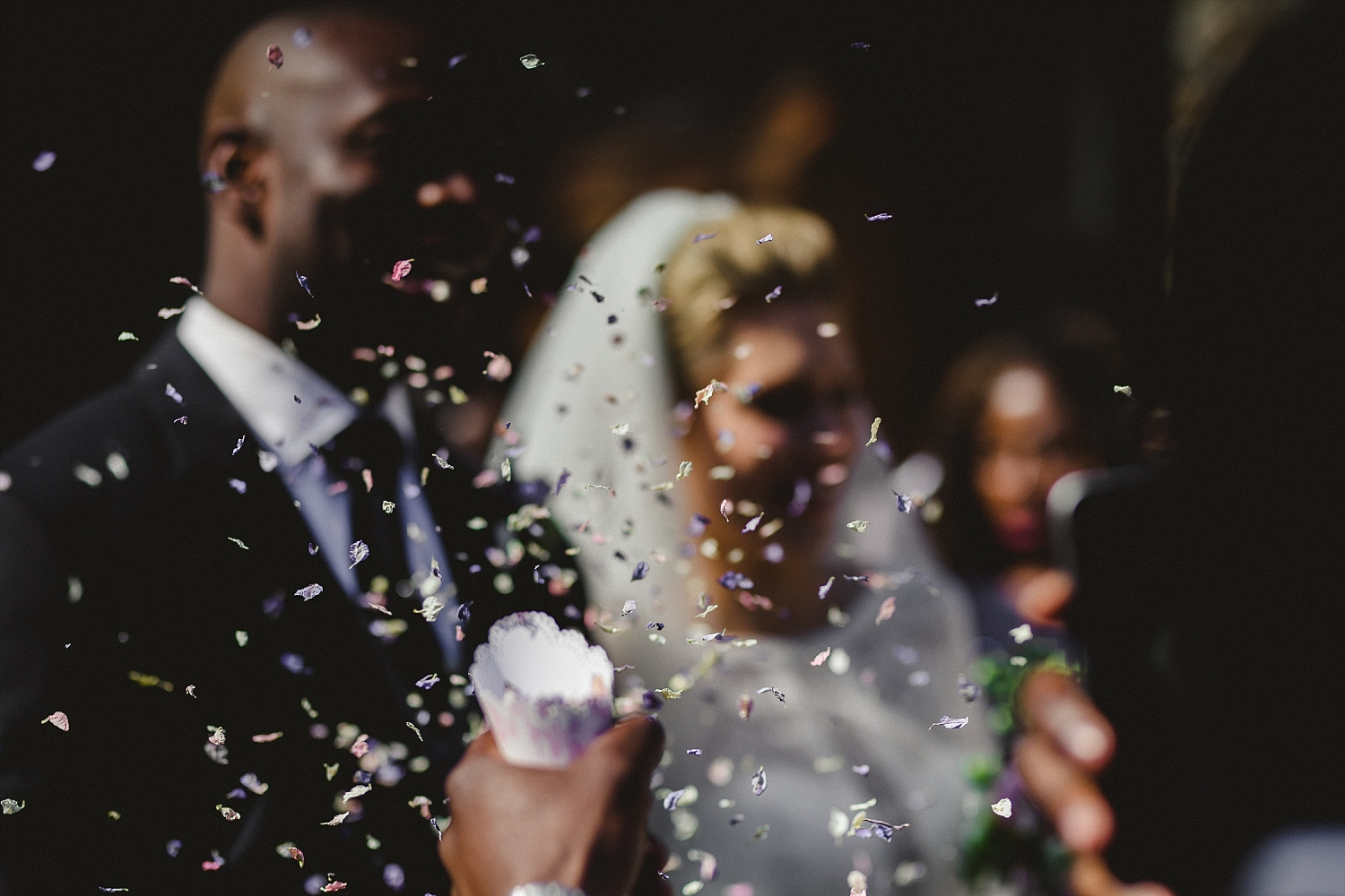 Gaynes Park Wedding Photographer - Church Confetti Shot