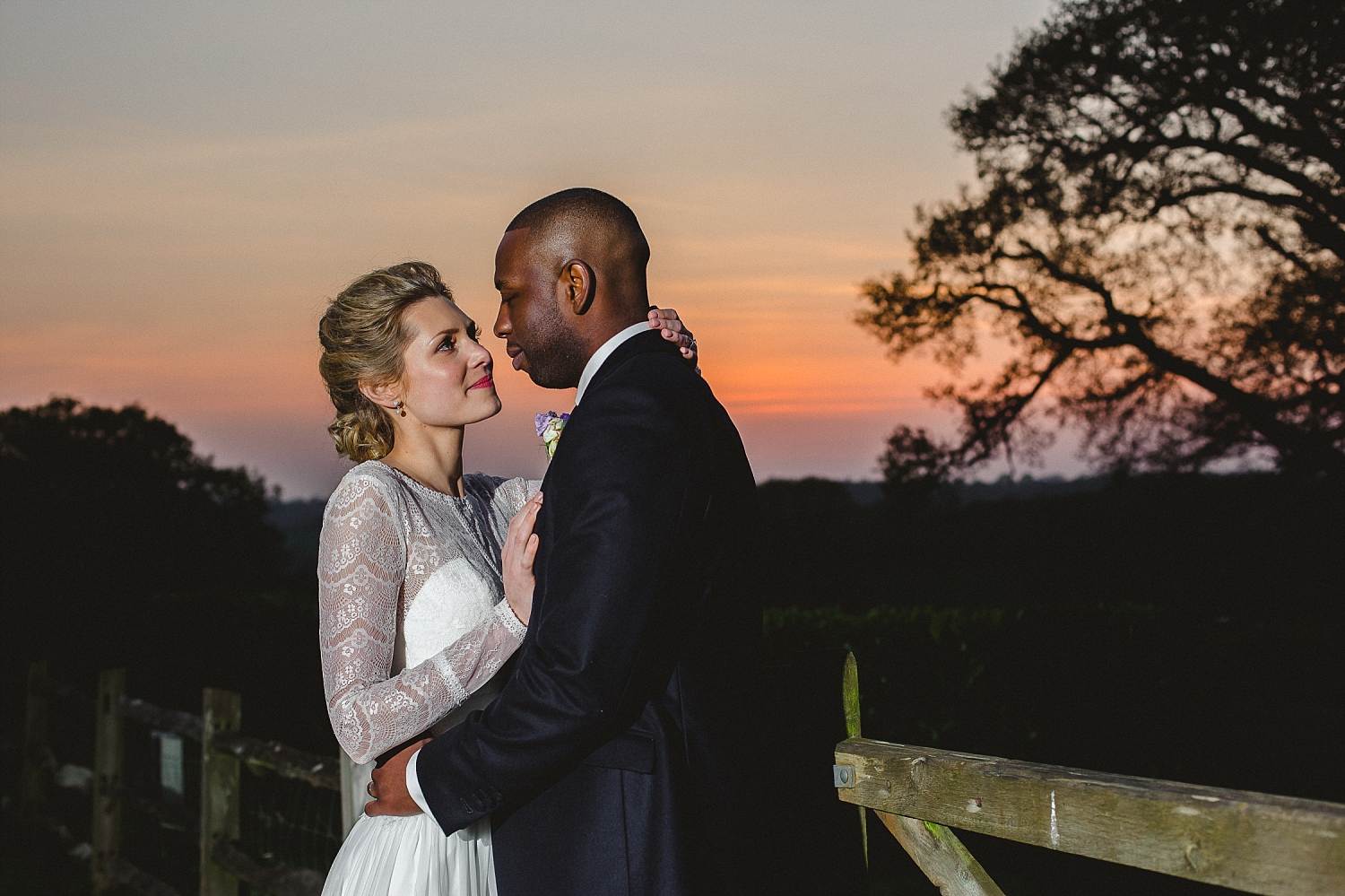 Gaynes Park Wedding Photographer - Sunset Couple Portrait