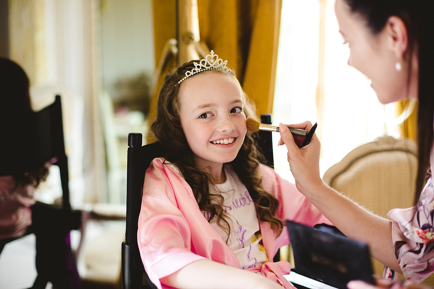 Gosfield Hall Wedding - Flowergirl during Bridal Prep