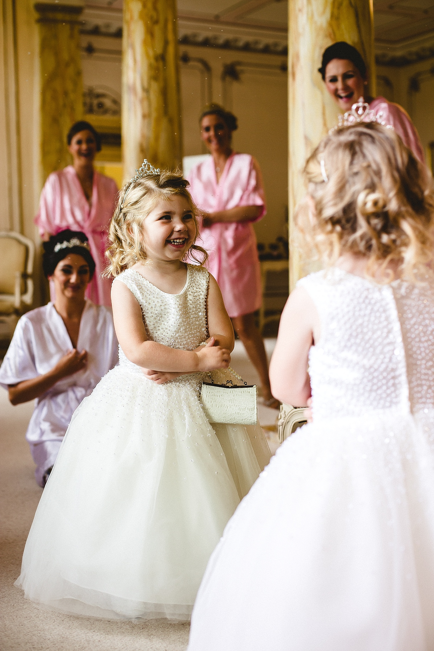 Gosfield Hall Wedding - Flower girl in Bridal Suite