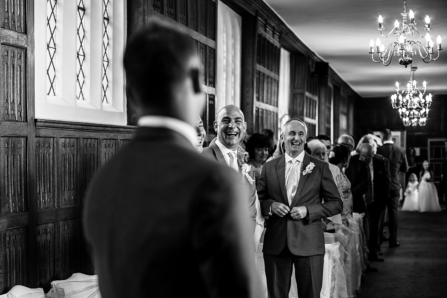 Gosfield Hall Wedding Photography - Guests in the Ceremony Room