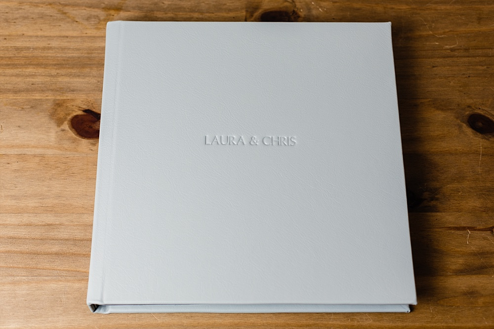 Wedding album with soft grey plain embossed cover