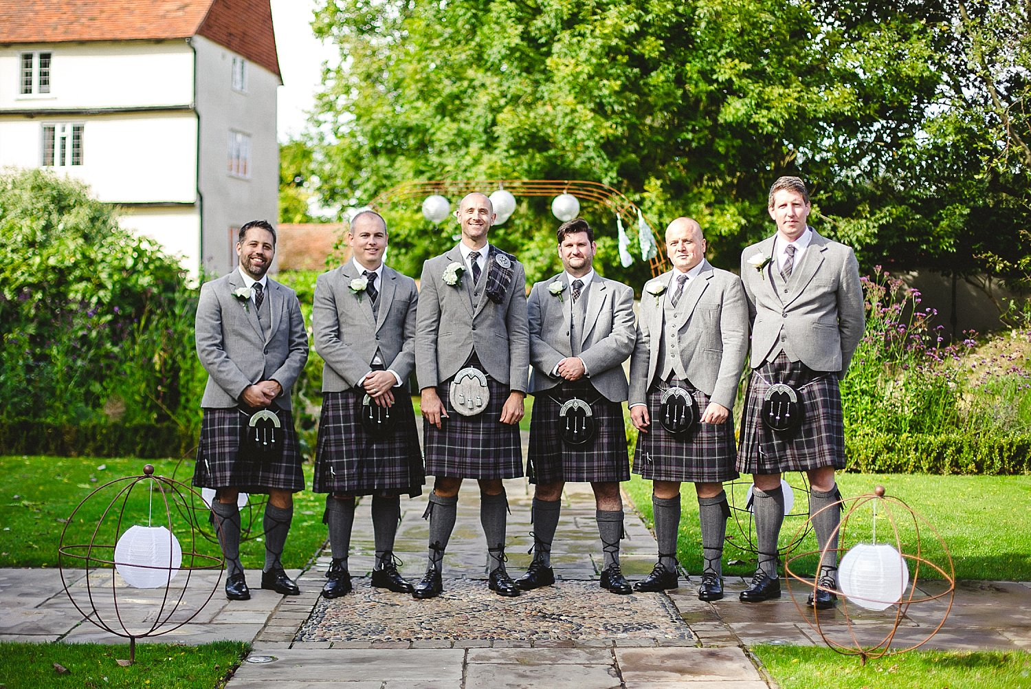 Houchins Wedding Photographer - Grooms Party in Kilts in the Gardens