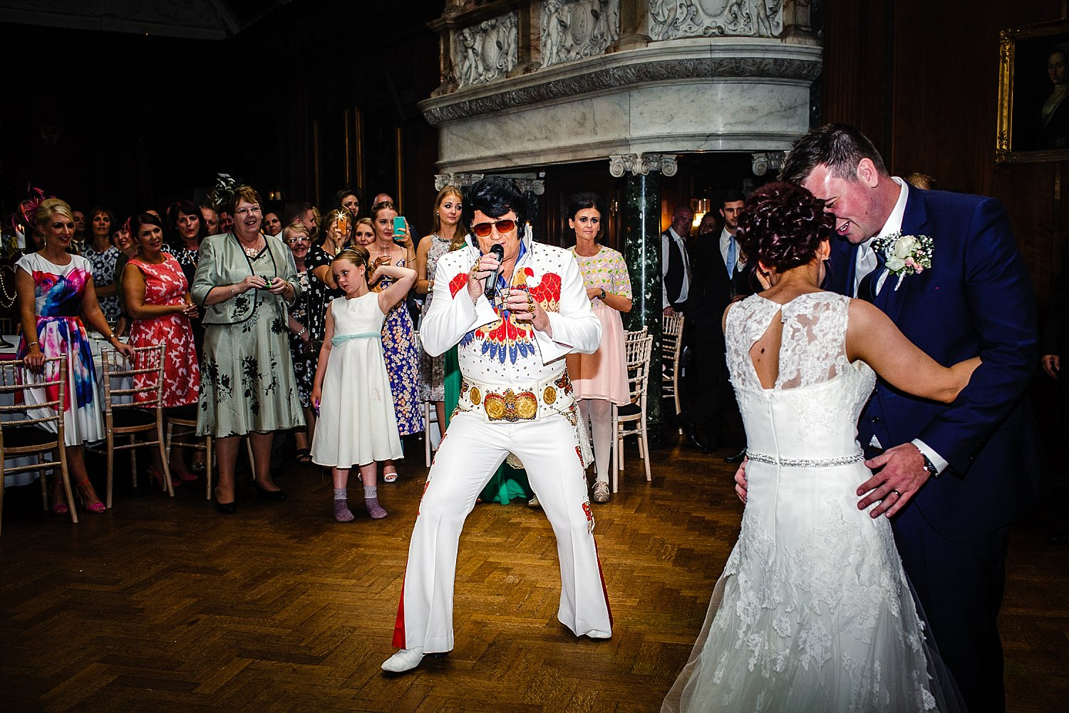 Elvis on the dancefloor at Thornton Manor Wedding Cheshire
