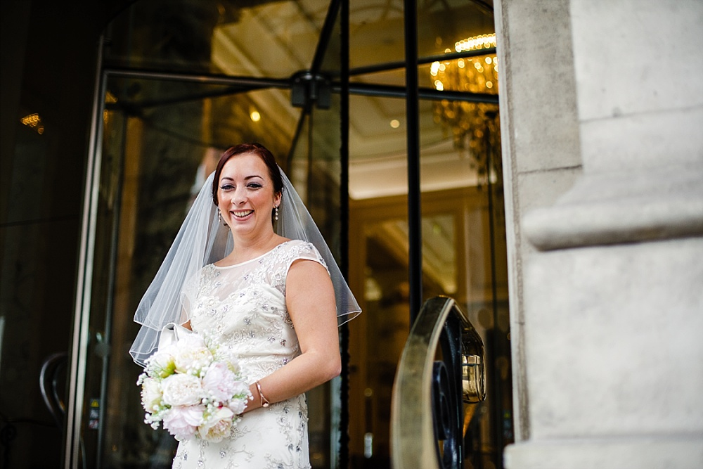 The Langham Hotel London Wedding - Bridal Portrait on the Staircase