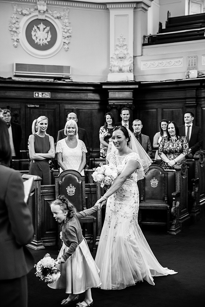 Islington Town Hall Wedding Photographer - Bride Entrance
