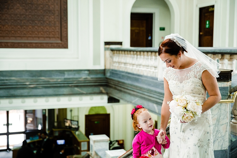 Islington Town Hall Wedding Photographer - Bride and Flower Girl