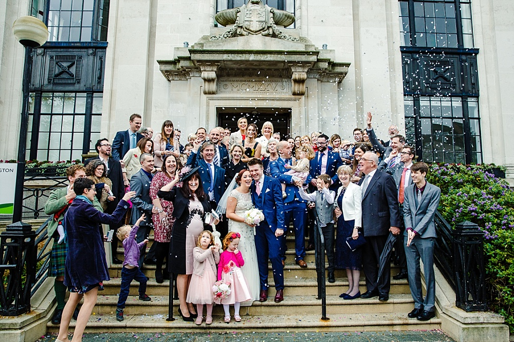 Islington Town Hall Wedding - Confetti Group Shot