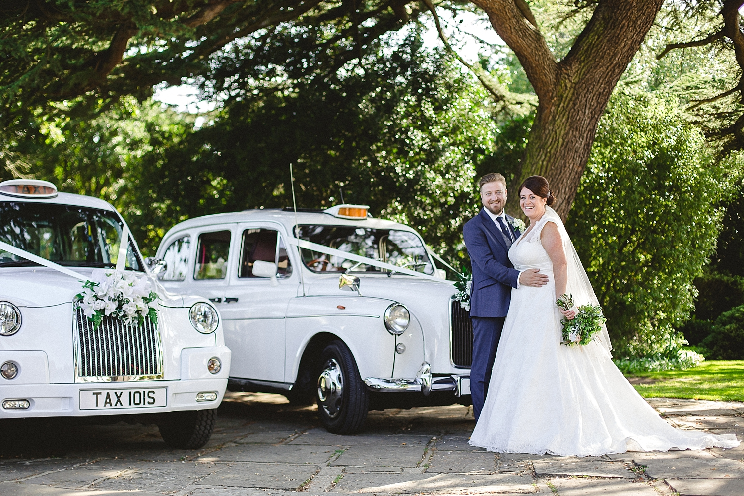Moor Hall Wedding - White Wedding Taxis - Anesta Broad Photography