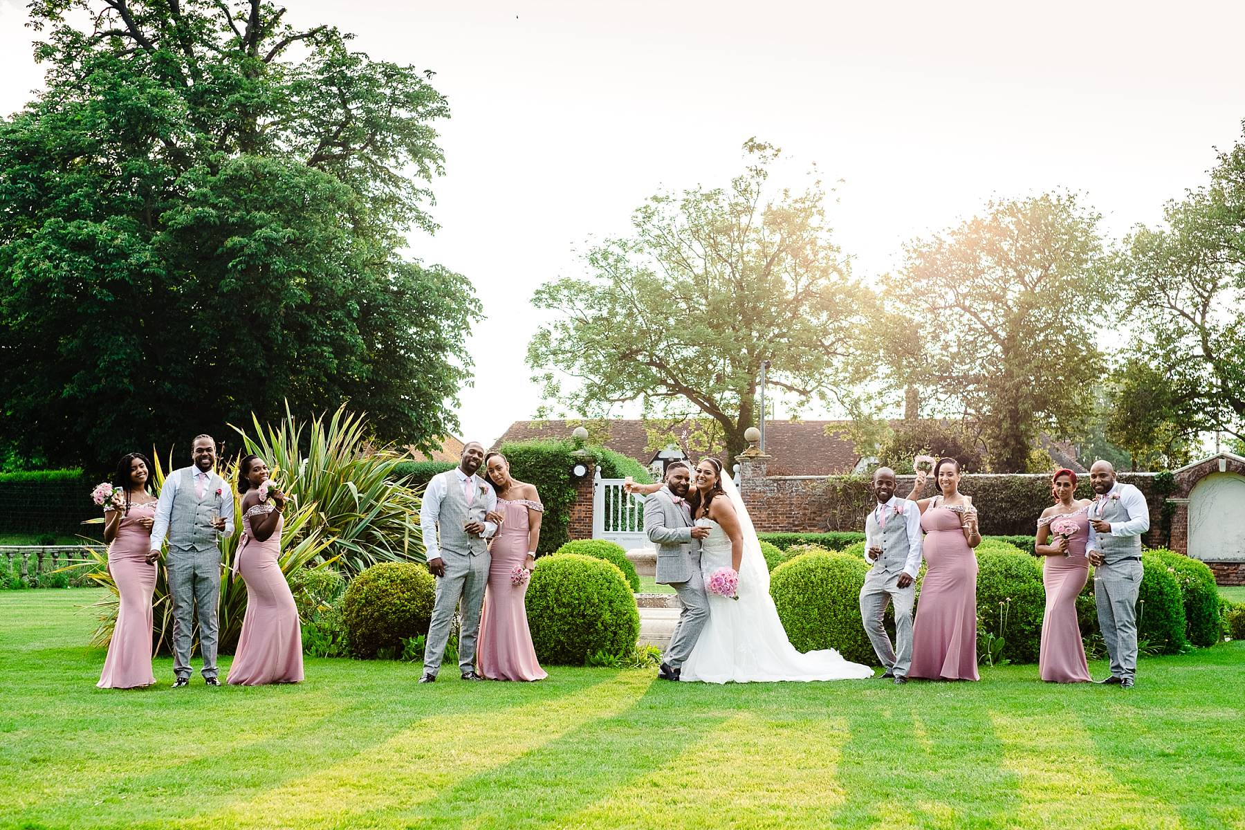 Bridal and Groom's wedding party at Parklands Quendon Hall
