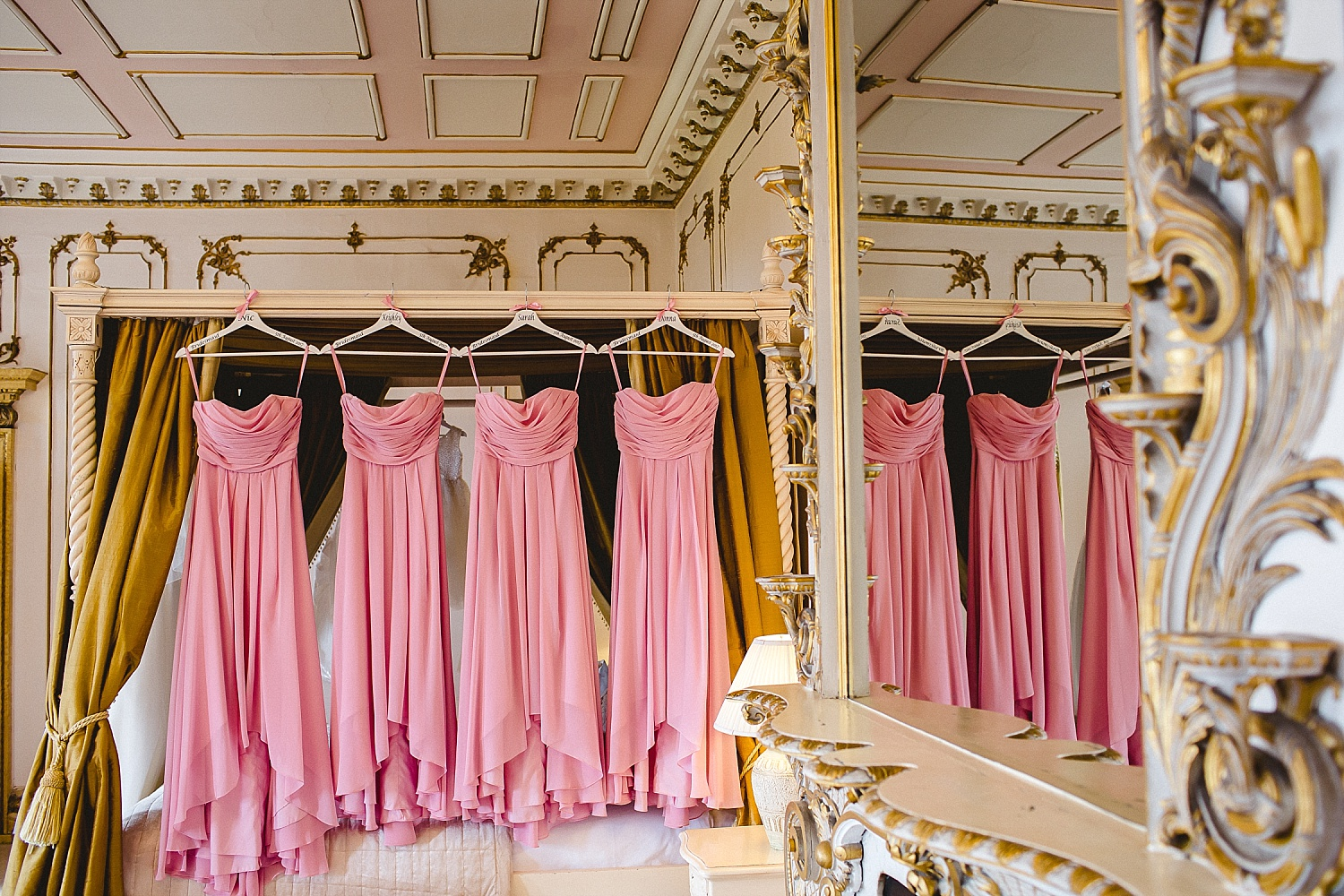 Gosfield Hall Wedding Photographer - Bridesmaids dresses in the Bridal Suite
