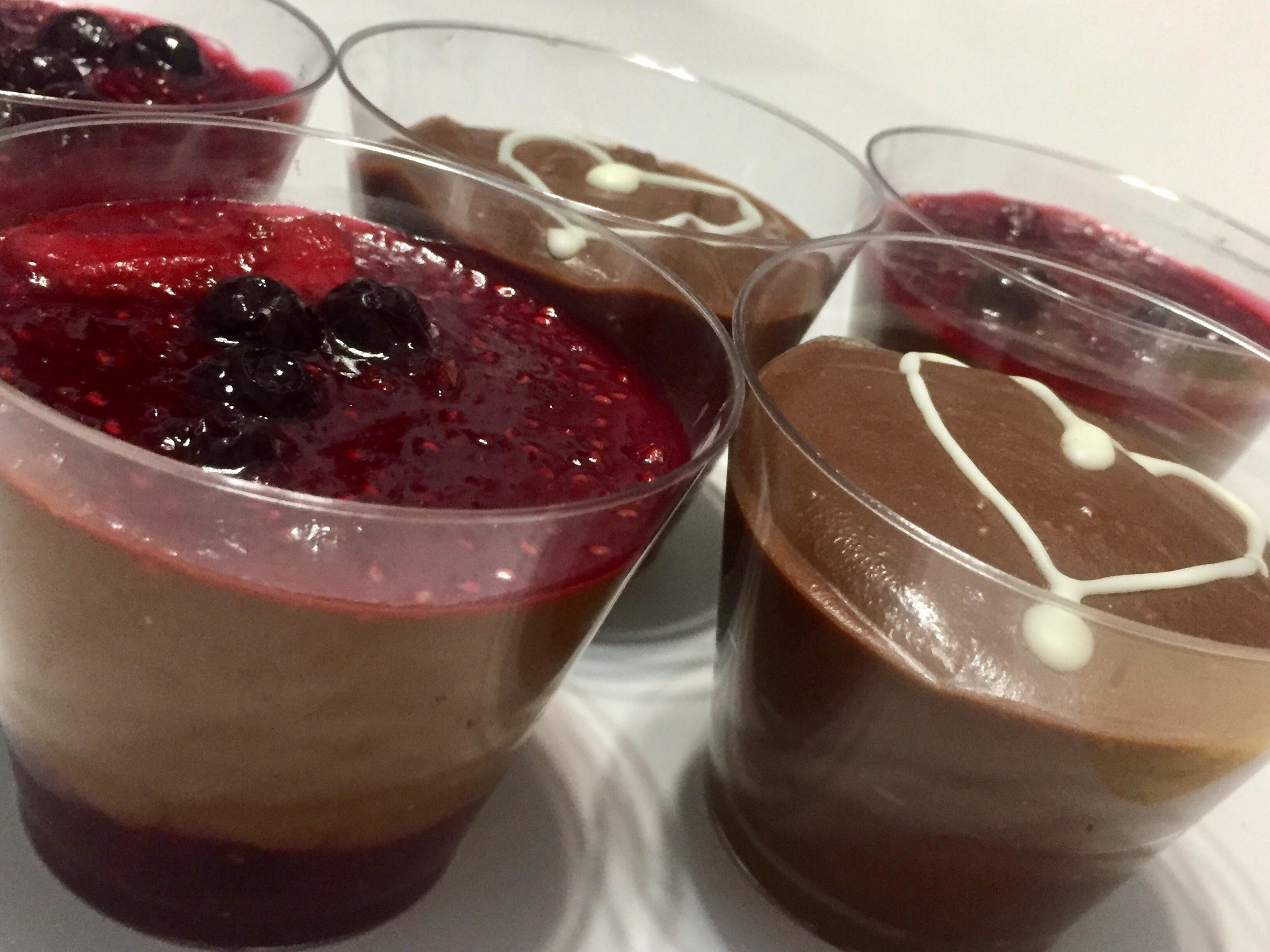 Nutella Mousse, and Chocolate Mousse with a Berry Sauce