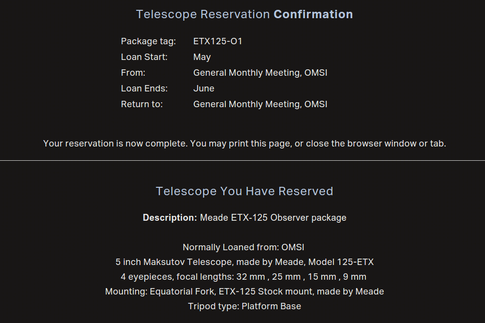 Reservation Confirmation Page