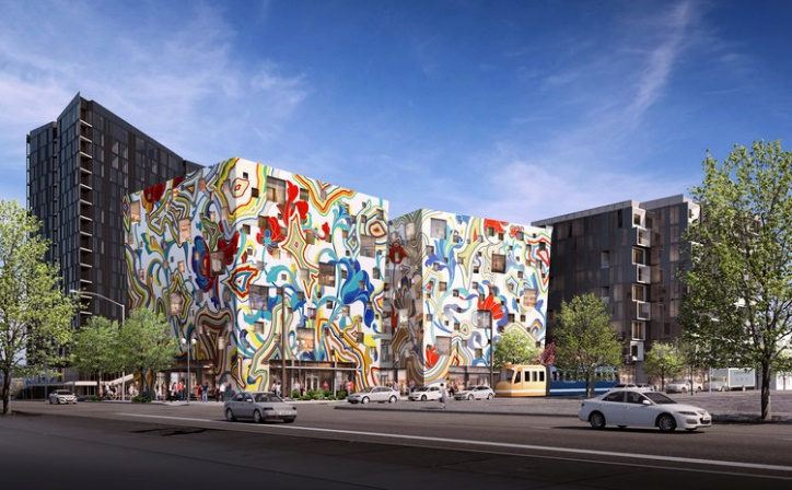 Concept image of the Fair-haired Dumbbell Building by day submitted to the City of Portland during planning process. © Guerrila Development