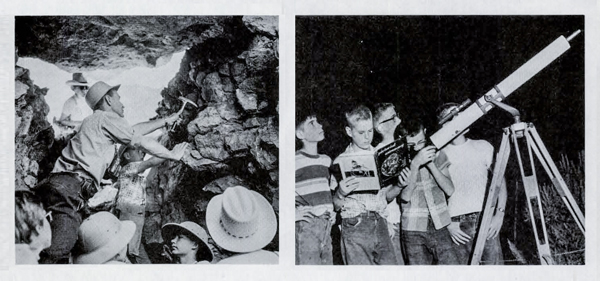 Young geologists and astronomers at Camp Hancock in 1957.