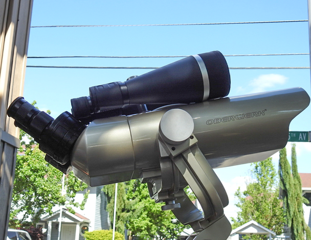Our new Oberwerk 105 mm Binoculars, with a pair of Orion 20x80's on top, to compare sizes.