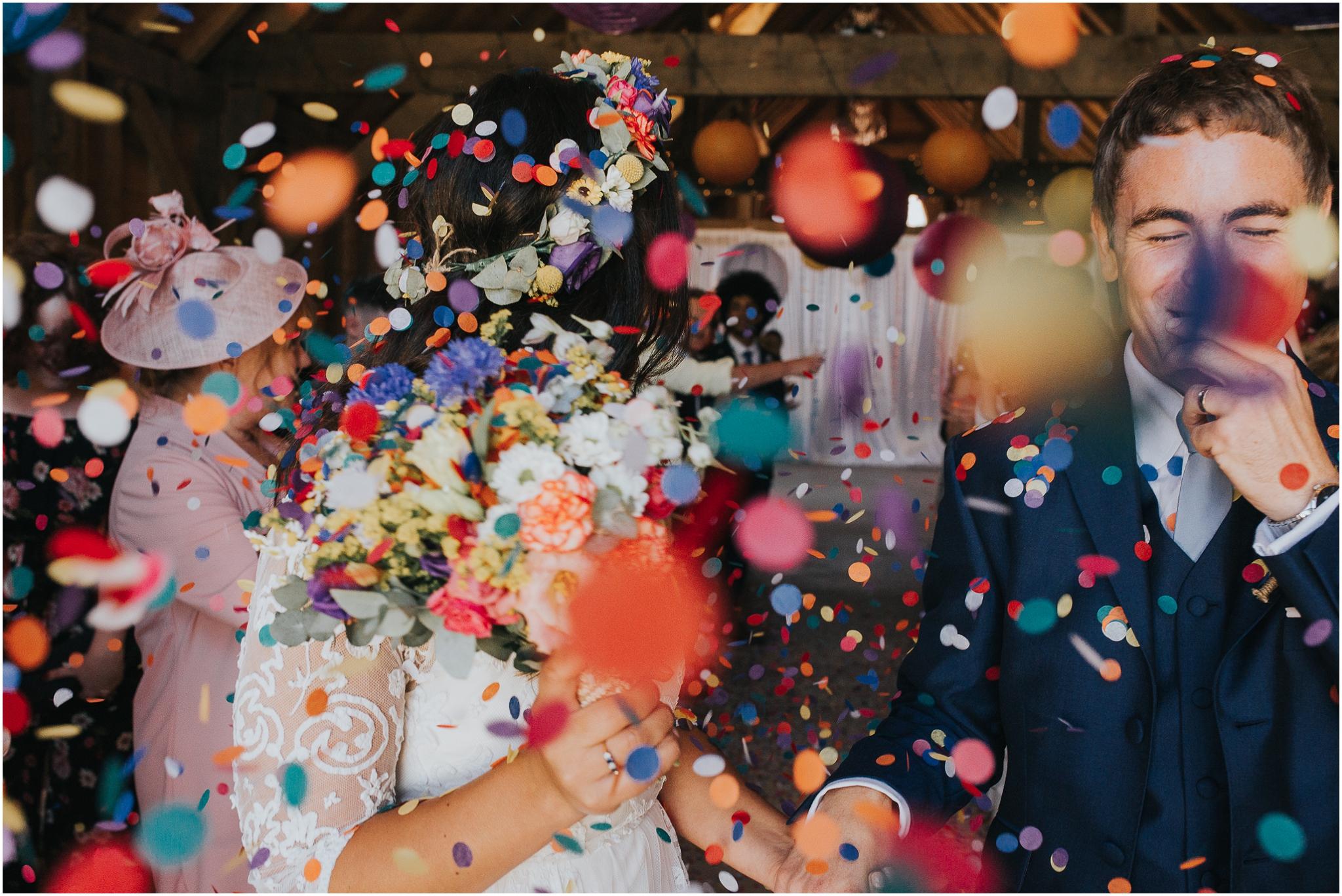 bright colourful confetti