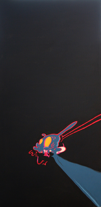 Stephen Tompkins  Figurehead for a Quest to Nothingness  Acrylic on Canvas 60cm x 120cm 2010   SOLD  Private Collection