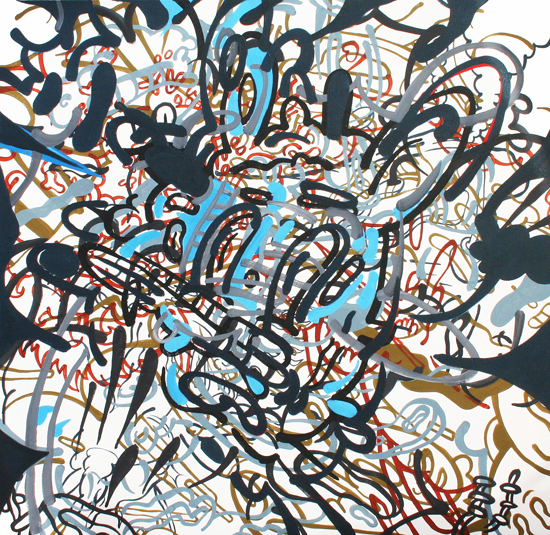 Stephen Tompkins  Dialexic  Acrylic on Canvas 50 in. x 50 in. 2010   SOLD   Private Collection