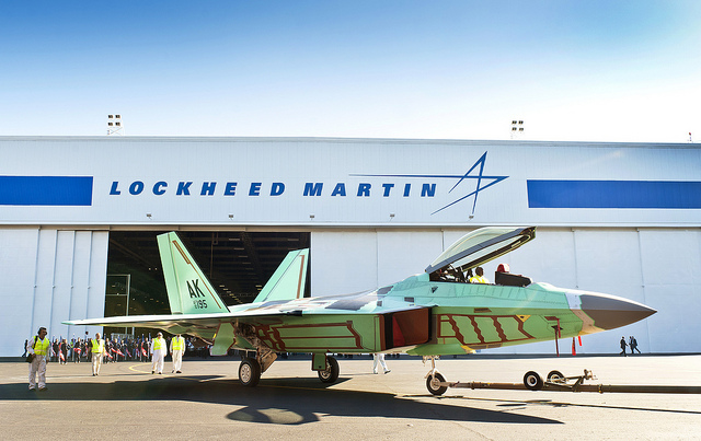 The last production F-22 rolls out the door of the Lockheed Martin production facility in Marietta, Georgia.