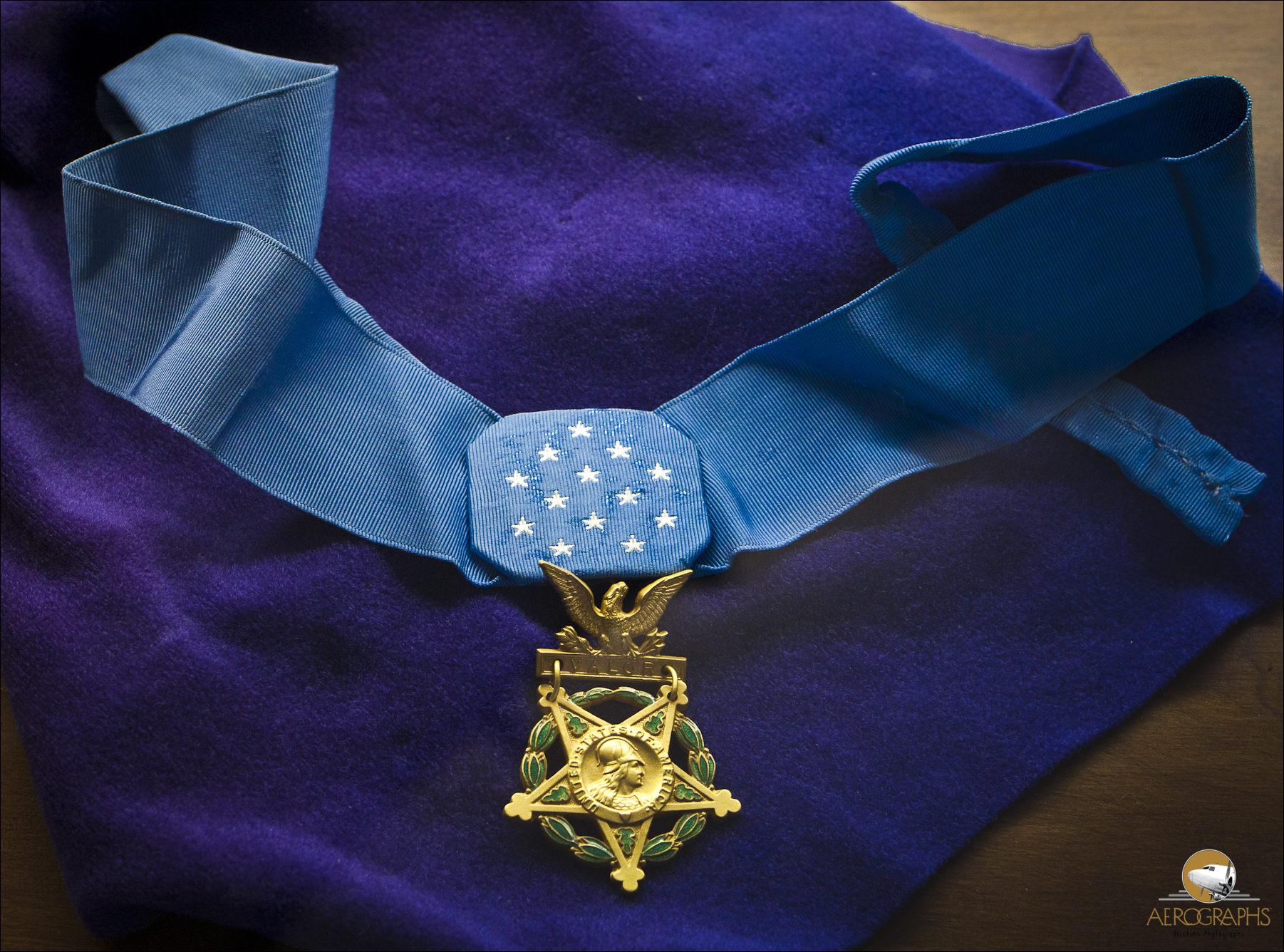 Charles Lindbergh's Medal of Honor, bestowed upon him by President Calvin Coolidgeafter his historic trans-Atlantic flight.