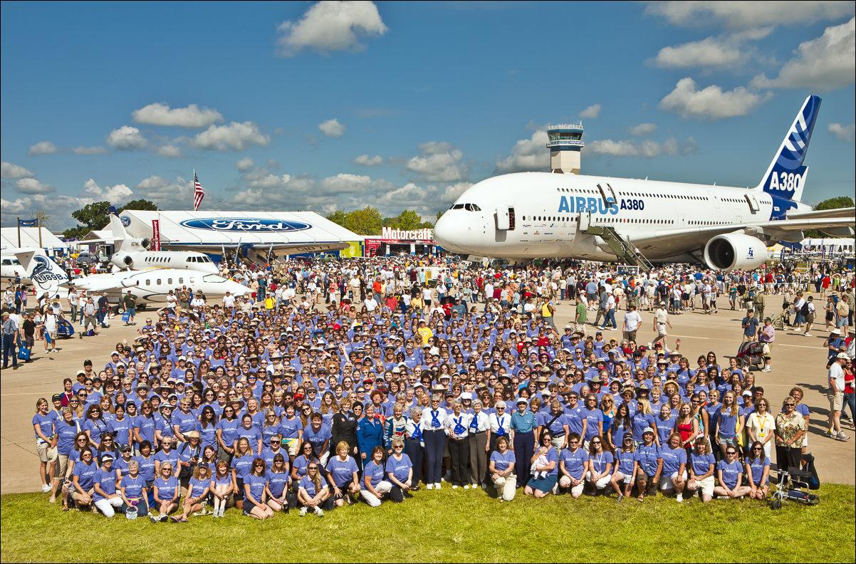 """The WAI """"Group Shot"""" in AeroShell Square during AirVenture 2009.  Oshkosh, Wisconsin."""