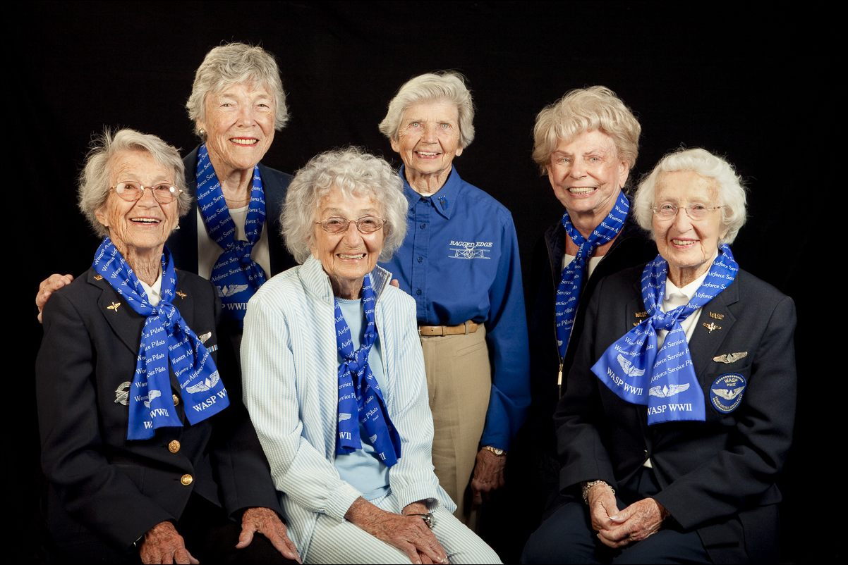 """Left to right: Dottie Swain Lewis, Dawn Seymour, Vi Cowden, Marty Wyall, Norma """"Penny"""" Halberg, Jan Goodrum."""