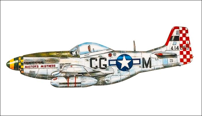 """Masters Mistress"" was the P-51D aircraft that he flew with the 3rd Scouting Force."