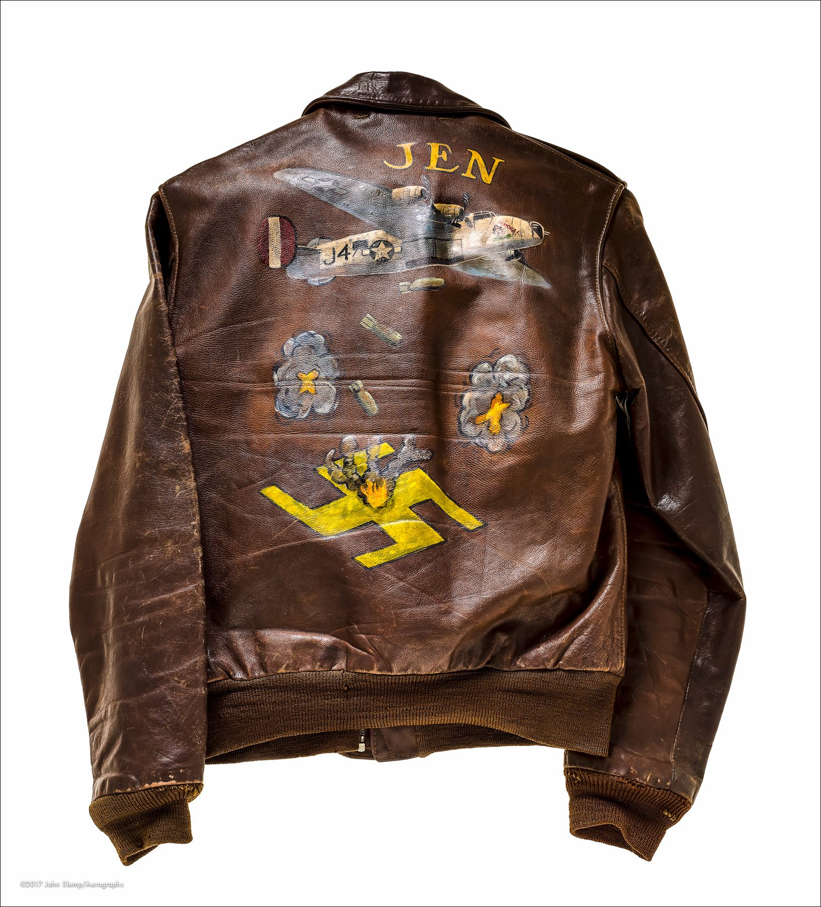 Leather A-2 flight jacket that belongs to WWII B-24 lead pilot Dale Dyer.  Number 61 in a series.