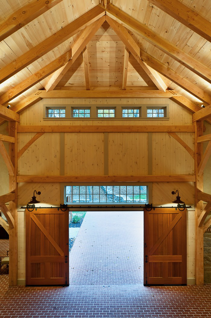 Timber Framed with large, sliding barn doors