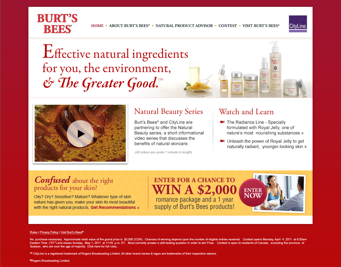 Burt's Bees contest homepage design