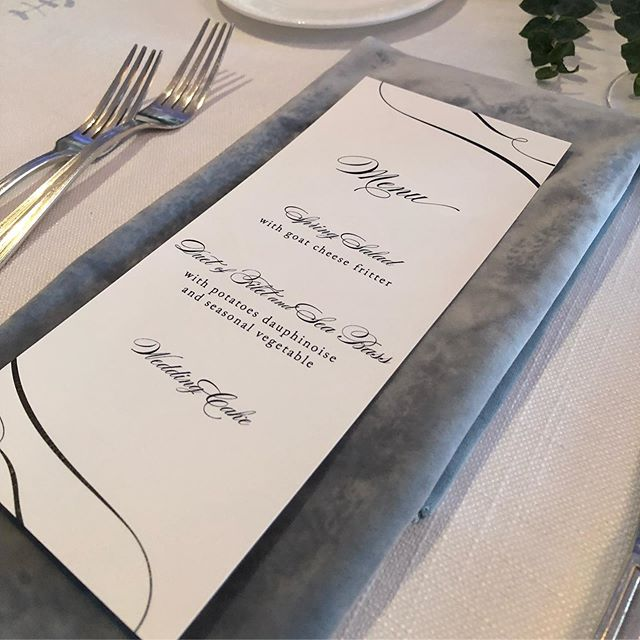 Velvet - it's not just for cooler months. I'm obsessed with this gray blue color paired with white. Small touch, big impact. . . . #limedropevents #rochesternyweddingplanner #fingerlakesplanner #rochesternyeventplanner  #celebrations #weddings