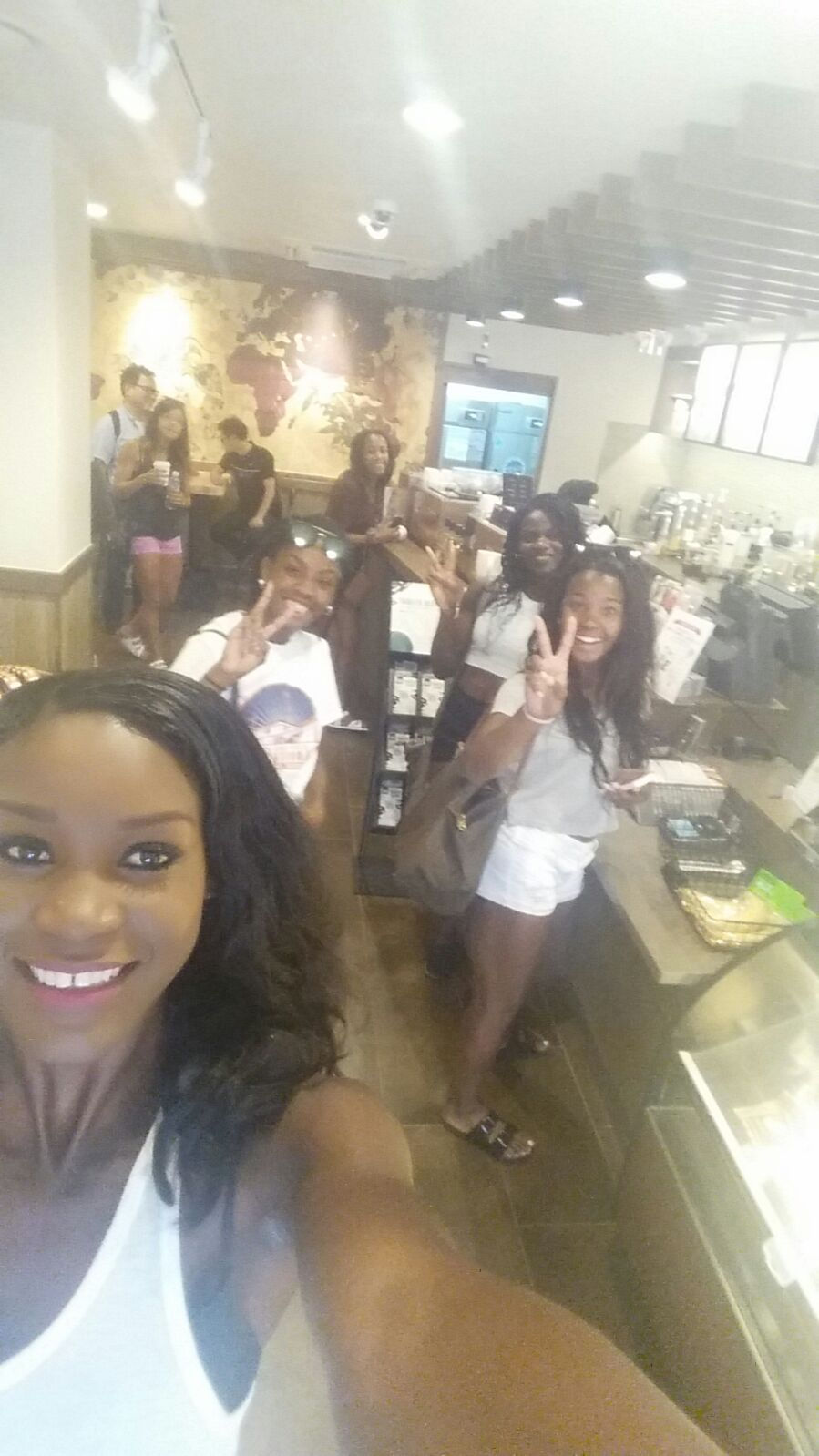 Beijing Babes - Nicole Sassine, Shaina Harrison, Aiyanna, Audrey Baptiste, Ice and me at the local coffee shop