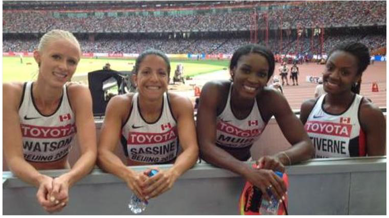 World Championships Relay finalists - Stage, Nicole, Aiyanna and I