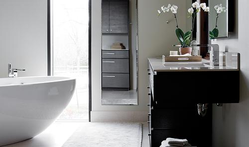 Zen Black and White Bathroom by Erin McKenna Design