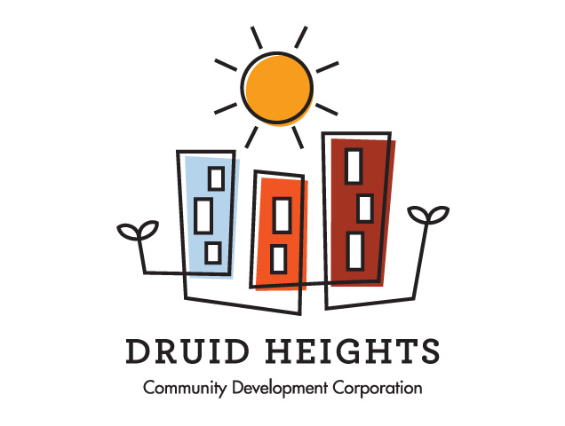 Druid Heights CDC - I worked with the Neighborhood Design Center in collaboration with a team of designers to create a logo that would represent the Druid Heights Community Development Center in Baltimore and the Druid Heights neighbrhood as a whole. The community chose my logo design as they felt that it best represented their vision for the future of the neighborhood. I used a black line connecting the homes and the trees to represent the strong bond between community members.Read more about the process