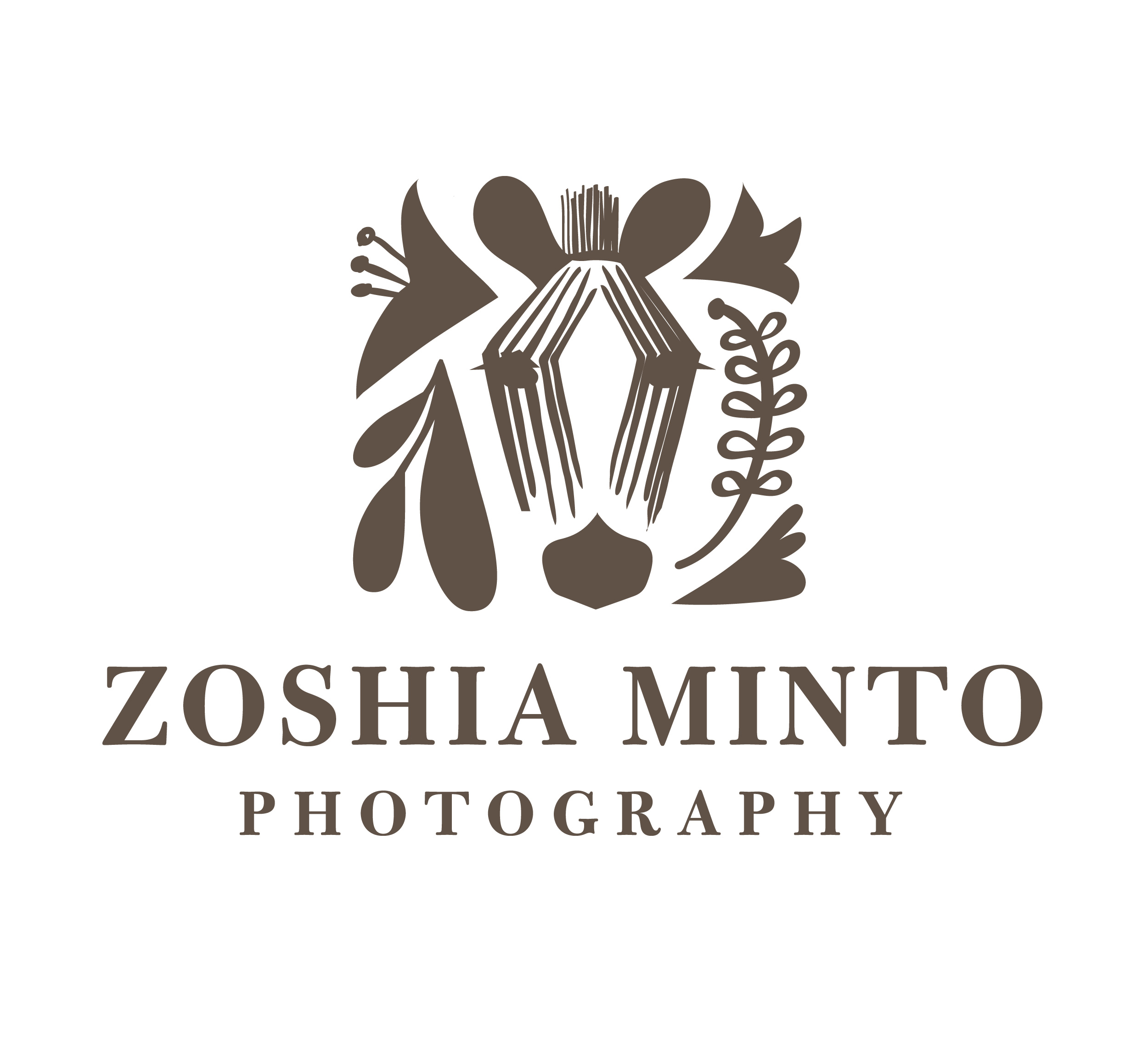 Zoshia Minto Photography - I created this logo for photographer, Zoshia Minto. She wanted a logo that would appeal to wedding photography clients yet feel personal at the same time. She wanted to incorporate a zebra into the logo, a reminder of her childhood in Kenya.I used the face of a zebra in a subtle and abstract way. I took a hand drawn approach, creating many options before translating the final logo into a digital format.