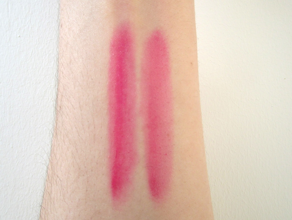 From left to right: Revlon Balm Stain in Lovesick and Clinique Chubby Stick in Pudgy Peoney