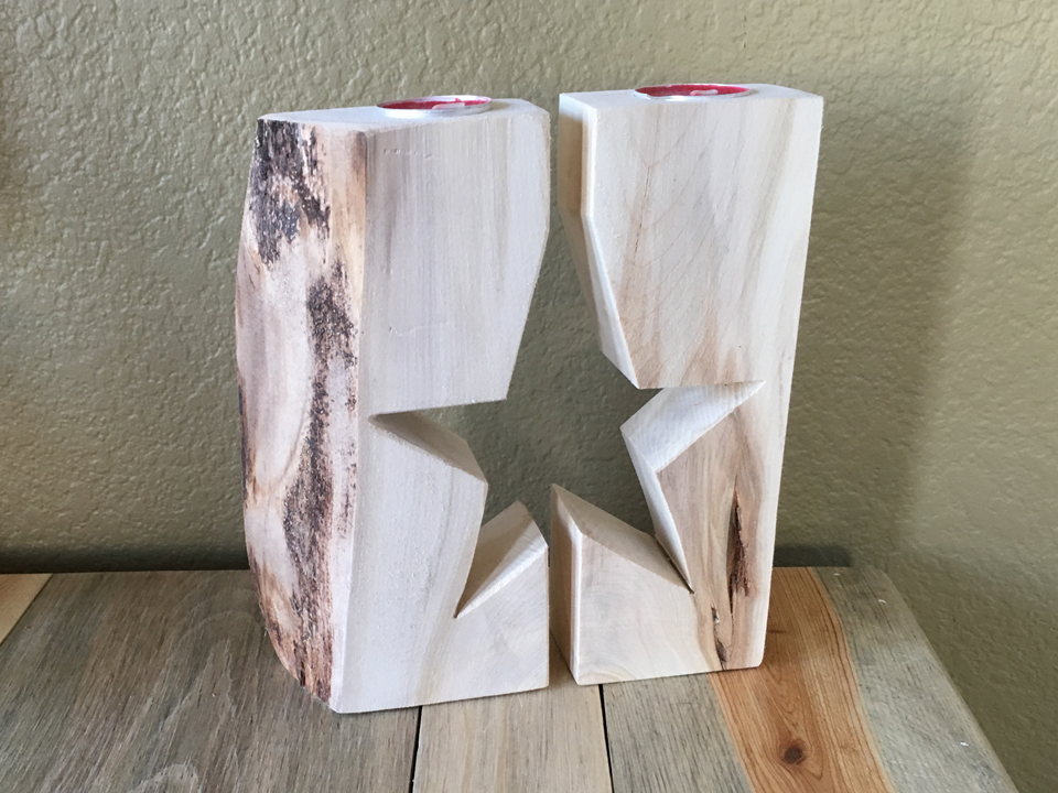 Beetle Kill Blue Stain Pine star or hart candles $25