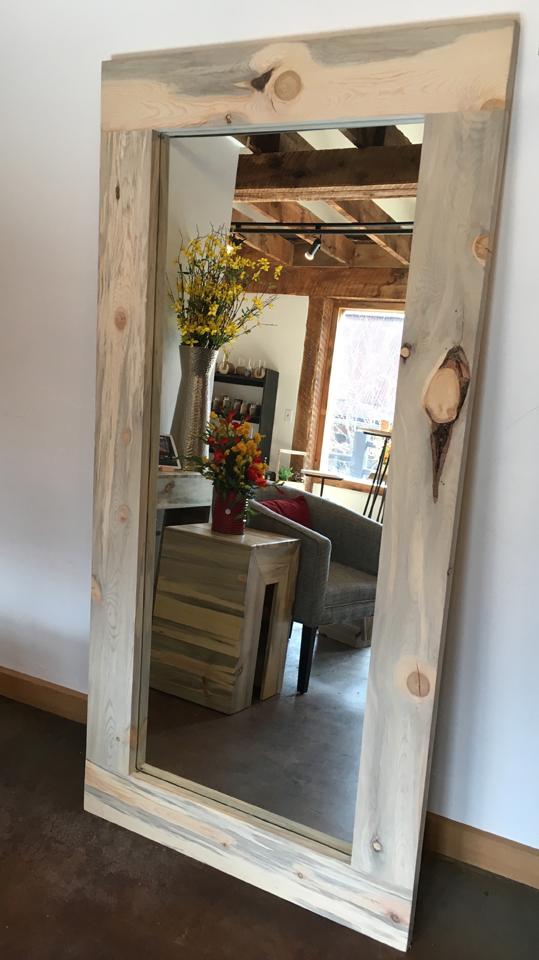 Beetle kill pine leaning mirror - $875